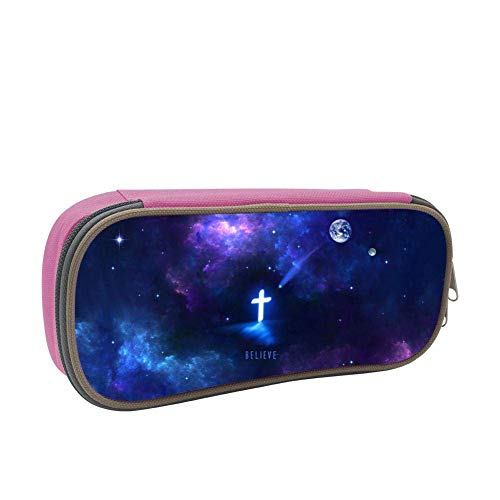 Pencil Case Galaxy Cross Crucifix Original School Pen Bag Big Capacity Double Zipper Durable Students Stationery Multipurpose Makeup Pouch Buggy Bag for Girls Pink