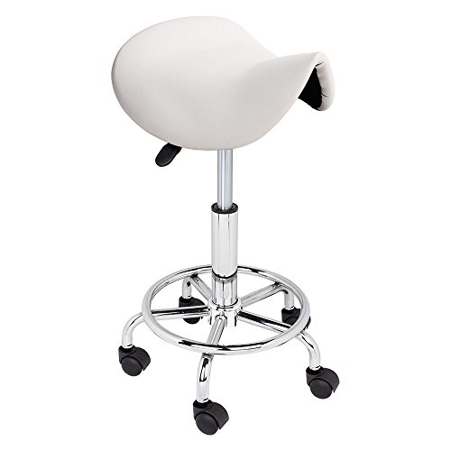 WHITE Adjustable Salon Stool Hydraulic Saddle Rolling Chair Tattoo Facial Massage Spa by Unknown