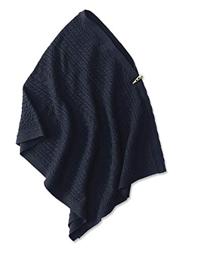 Orvis Women's Mixed Cable Poncho, Navy (Orvis Braided Belt)