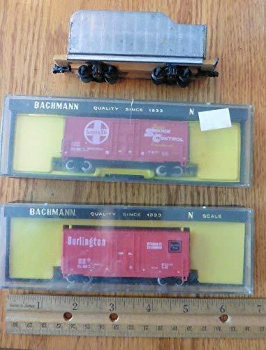 Burlington Boxcar - 3 Bachmann N Scale train box cars Burlington route Santa Fe Super Shock Control