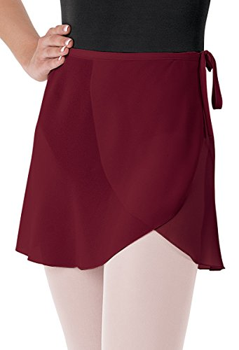 Balera Skirt Girls Wrap For Ballet Dance Georgette Tie Waist Black Cherry Adult - Cherry Ballet Shoes