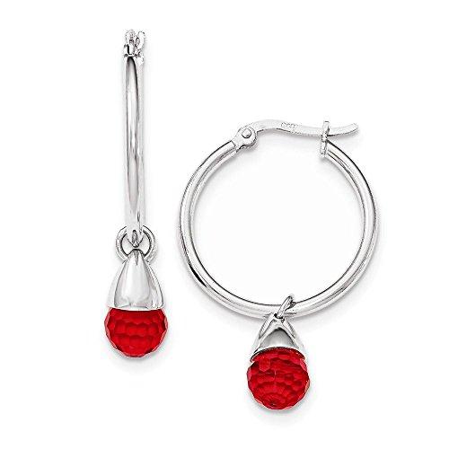 Briolette Hoop Crystal Earrings (Sterling Silver Red Crystal Briolette Hinged Post Hoop Earrings 27x43 43x27)