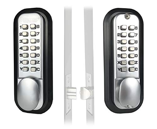 Mechanical Keyless Combination Latch Door Lock with Double Keypads (Satin Chrome) ()