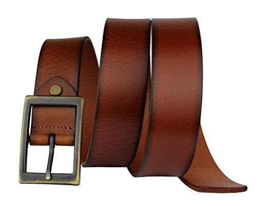 Bullko Mens Belt Genuine 100/% Full grain Leather Brown Casual Coffee 30-32 inch