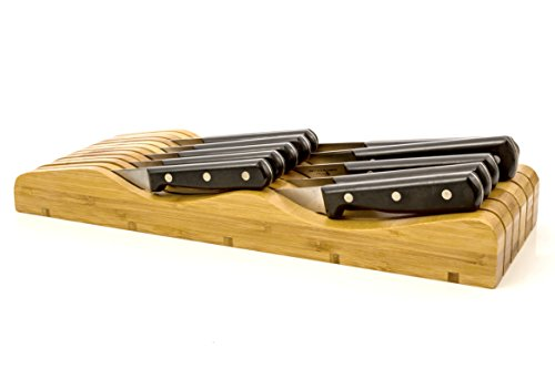 In-Drawer Knife Block Holder 11 Slots Storage Kitchenware Made of Organic Bamboo Wood (No Knives Included) by Intriom Bamboo (Wood Knife Holder)