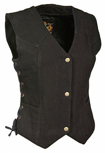 Denim Black Leather Vest - The Bikers Zone Ladies Side Lace 4 Snap Front Denim Vest (BLACK, XL)