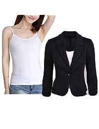 Donalworld Women Slim Blazer Jacket Suit Work Casual Basic Button Coat Shirt