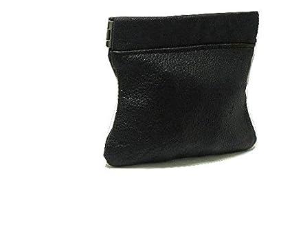 Monedero de tipo clic-clac, piel de cordero, negro: Amazon ...