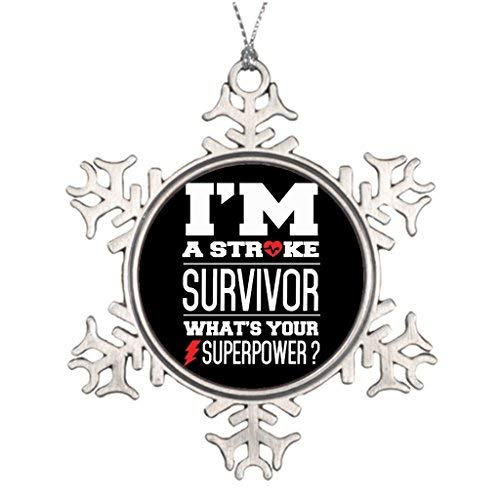 (OneMtoss Christmas Snowflake Ornament Personalised Christmas Tree Decoration Survived Stroke I'm A Stroke Survivor. W's Your Superpower Making Christmas Snowflake)