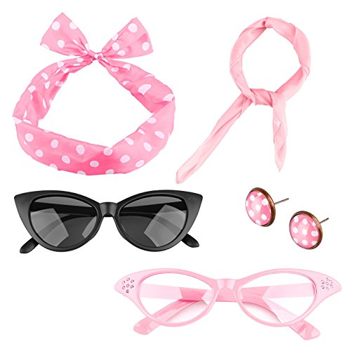 Spooktacular 5 Pack 50s Scarf Cat Eye Glasses Bandana Tie Headband Earrings,Pink ()