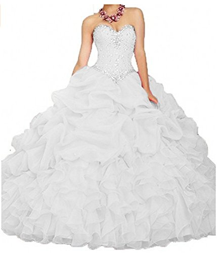 ANGELA Women's Ball Gown Organza Quinceanera Dresses Prom Gowns White 14