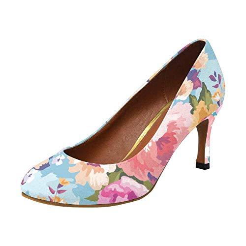 Houndstooth Pump Heel High (INTERESTPRINT Womens High Heels Comfort Pumps Colorful Flowers Blossom US6)