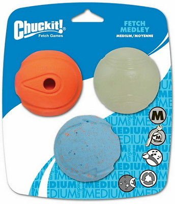 Chuckit Fetch Medley Ball Triple Pack Dog Toys, Medium 2.5 inch (Balls Fetch Medley)