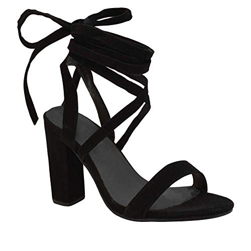 - Bbalizko Womens Lace up Faux Suede High Heeled Strappy Sandals Shoes