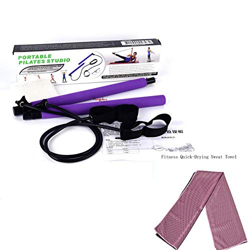 Pilates Bar Kit/Barre d'exercice De Yoga avec Boucle De Pied/Serviette De Fitness Yoga/pour Le Yoga, éTirement…