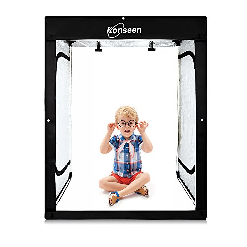 Professional Large LED Studio Lightbox Shooting Tent Photography Kit 47x32x63inch Photo Video Continuous Lighting Cube Shoot Box Softbox with 3 Colors Backdground and Carrying Bag by Konseen