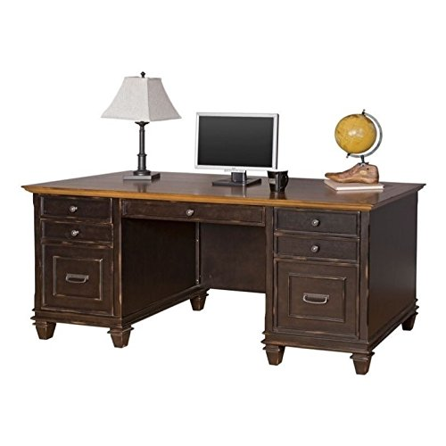 Classics Double Pedestal Table - Martin Furniture Hartford Double Pedestal Shaped Desk, Brown - Fully Assembled