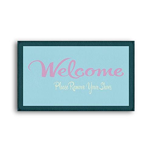 - CozyHomein Welcome Entrance Doormat Please Remove Your Shoes Floor Carpet Soft Touch Crystal Velvet Blue Color Fantastic Door Mat Rug Size: 20x31Inch (50x80cm)