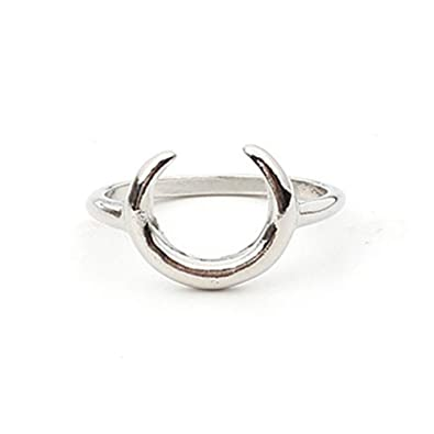 Amazon Com Simple New Moon Crescent Ring Gold Silver Plated