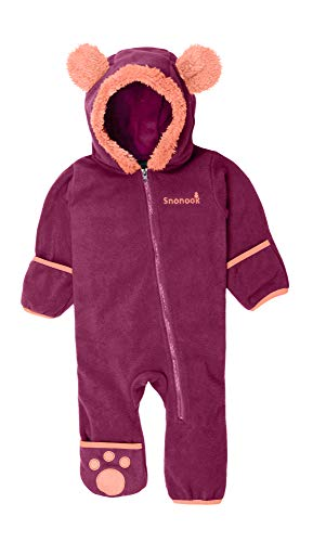 Snonook Fleece Baby Bunting Hooded Romper Bodysuit with Fold-Over Mitten and Footed Cuffs, Rasberry, 6/12 Months