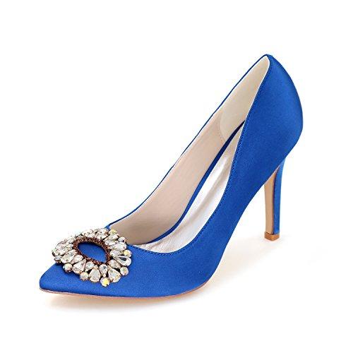 Flower-Ager 0608-28 Satén De La Boda De Las Mujeres Zapatos De Novia En Punta De Tacones Altos Para La Fiesta De Graduación De Noche Con Diamantes De Imitación De Cristal Blue