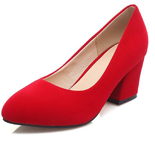 Kitten Closed Pointed Womens AmoonyFashion Heels Shoes Solid Red Suede Pull Imitated Toe on Pumps Eaqwz