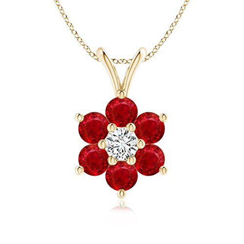 Classic Six Petal Ruby Flower Pendant with Diamond in 14K Yellow Gold (2.5mm Ruby)