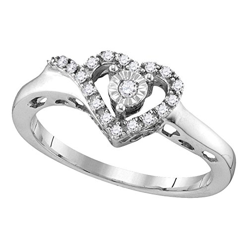 Sterling Silver Womens Round Natural Diamond Heart Love Fashion Ring (.10 cttw.) (I2-I3) by Mia Diamonds and Co.