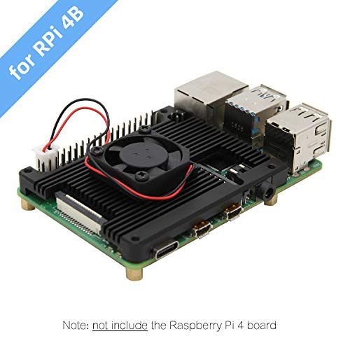 Geekworm Raspberry Pi 4 Embedded Heatsink with Fan, Raspberry Pi 4B Armor Aluminum Radiator with 5V Cooling Fan Compatible with Raspberry Pi 4 Model B Computer and Pi 4 Expansion Board