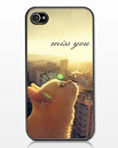Cat Miss You Anti-Slip Matte Hard Case with PU Leather for iPhone 4/4S