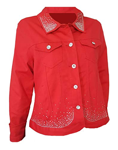 Rhinestone Jackets For Women - Denim Jacket Red Bling Rhinestone with Stretch Womens (2X)