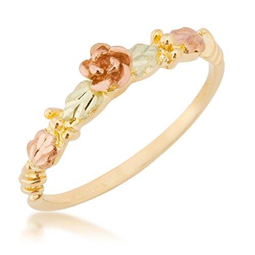 Dakota Rose Leaf Ring, 10k Yellow Gold, 12k Pink and Green Gold Black Hills Gold Motif, Size 8 (Gold Rose Dakota 10k)