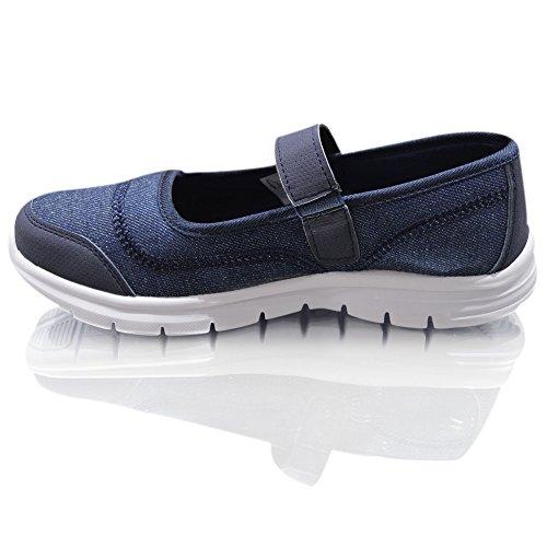 Damen Gewicht Weniger Air Tech Damen Sneaker Slipper Pumps Mokassins Mädchen Schuhe Größen Denim Blau