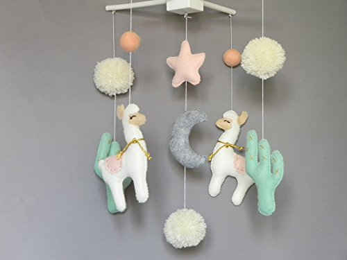 Llama nursery mobile Baby grib mobile Baby girl mobile Cactus felt mobile Alpaca mobile boho Llama decor Pom Pom Mobile pink gold mint by RainbowSmileShop