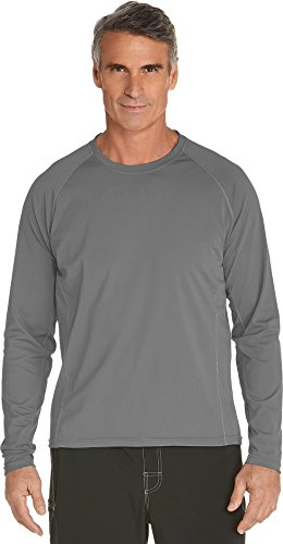 Coolibar UPF 50+ Men's Long Sleeve Swim Shirt - Sun Protective (Medium- Pomice Grey) by Coolibar