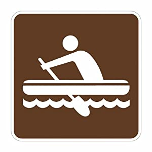 """Tapco RS-146 Engineer Grade Prismatic Square National Park Service Sign, Legend """"Rafting (Symbol)"""", 6"""" Width x 6"""" Height, Aluminum, Brown on White"""