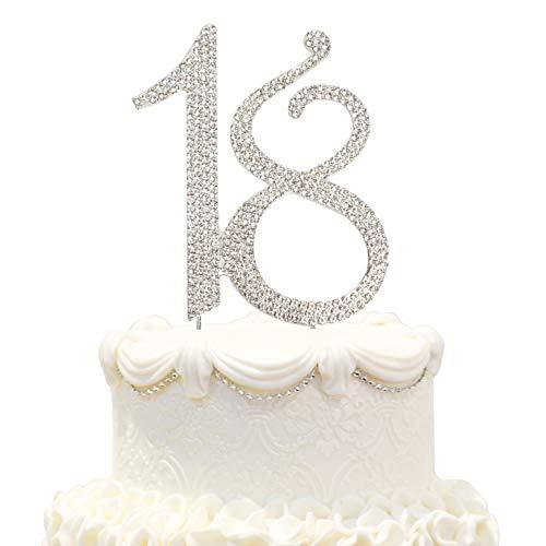 Hatcher lee 18 Cake Topper 18Years Birthday 18TH Wedding Anniversary Silver Crystal Rhinestone Party Decoration (Silver) ()