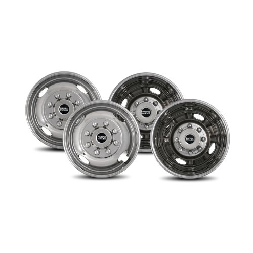 Pacific Dualies 43-1608 Polished 17 Inch 8 Lug Stainless Steel Wheel Simulator Kit for 2005-2017 Ford F350 Truck (Ford F350 Wheels)