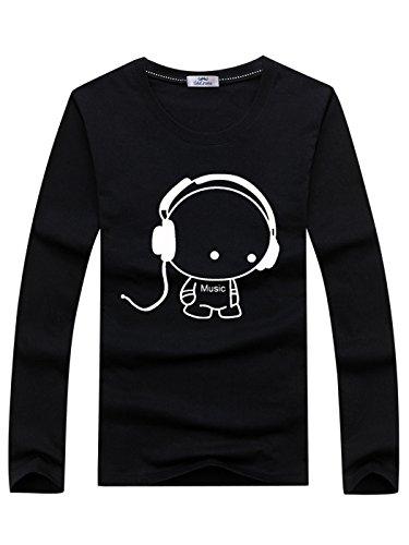 下にスマート用心する[SeleCreate] キャラクター プリント Tシャツ メンズ 長袖 カットソー トップス