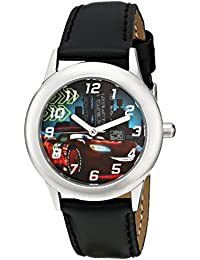 Kids' W001590 Cars Lightning McQueen Stainless Steel Watch, Black Leather Band