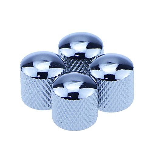 4pcs Silver Metal Dome Tone Knob for Electric Guitar Bass - Silver Tone Plate