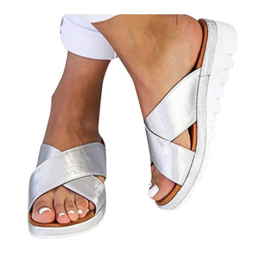 (Platform Sandals for Women- 2019 New Comfort Flip Flops Wedge Shoes Flats Beach Casual Slippers (Silver -7, EU:43/US:9.0))