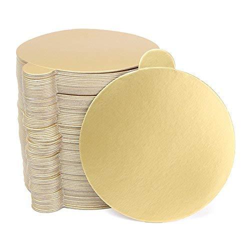Serve Board - 100pcs/Set Round Mousse Cake Boards Gold Paper Cupcake Dessert Displays Tray Wedding Birthday Cake Pastry Decorative Tools Kit