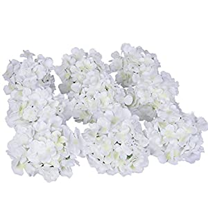 Luyue Silk Hydrangea Heads Artificial Decoration Flowers Garden Floral Decor,Pack of 10 2