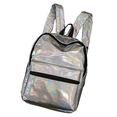 LHWBA Women Backpack PU All Seasons Casual Round Zipper Silver