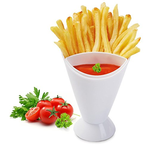 Choppan French Fries Holder 2 in 1 Potato Tool Tableware French Fry Cones with Dipping Cups, White