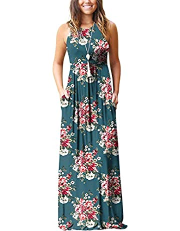 c400ab54e GRECERELLE Women's Summer Sleeveless Racerback Loose Plain Maxi Dress  Floral Print Casual Long Dresses with Pockets