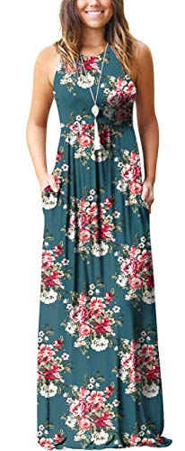 GRECERELLE Women's Sleeveless Racerback Loose Plain Maxi Dress Floral Print Casual Long Dresses with Pockets Round Flower Blue Gray-S