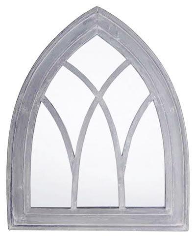 Esschert Design USA WD11 Mirror Gothic, Gray Wash Finish