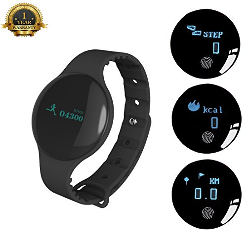 Fitness Tracker Activity Watch Bluetooth Fitness Band Sleep Monitor Pedometer Calorie Burn Call SMS Reminder Smart Bracelet for IOS iPhone X 8 7 6S 6 Android Samsung Men Women Boys Girls (Black)